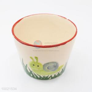 Cute mini ceramics flower pot printed with snail