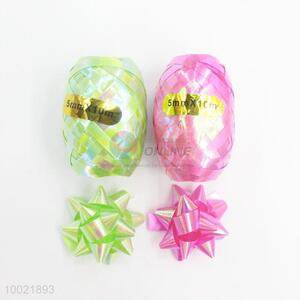 Hot Sale Holiday Gift PET/PP Rainbow Pull Flower Ribbon 4 Ribbons and 2 Eggs