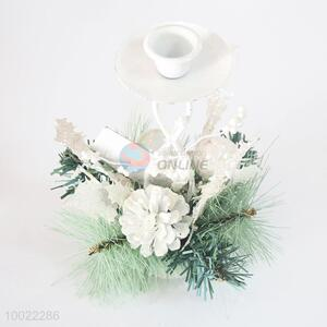 White Plastic Candlestick With Flower and Grass