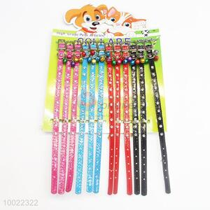 Four Colors PU Dog Collar with Small Bell