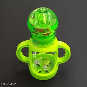 150ml Hote Sale Grren Feeding-bottle with Cartoon Pattern, Silicone Nipple PC Bottle