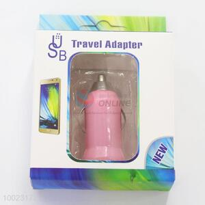Pink USB Bullet Travel Adapter Car Charger Plug