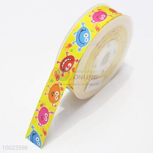 New Arrival Hot Sale High Quality 2.5CM Yellow Cartoon Pattern Ribbon