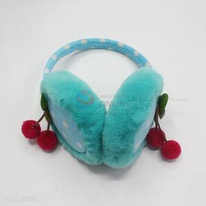 Blue dot pattern earmuff with cherry