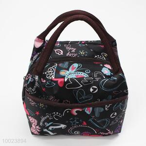 Black Printing Square Lunch Bag