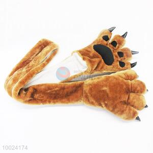 Brown Warm Bear's-paw Shaped Gloves and Scarf