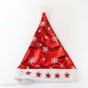 High Quality Red Snow Pattern Christmas Hat with Light