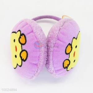 Cute duck pattern purple warm plush earmuffs