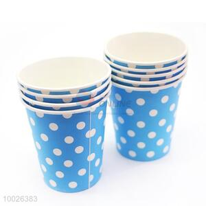 High Quality Round Dots Blue Disposable Paper Cup