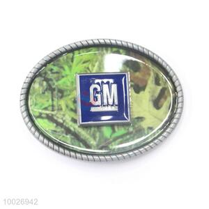 Oval camouflage zinc alloy belt buckle