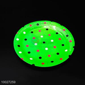 Green Disposable Dotted Paper Dish/Plate