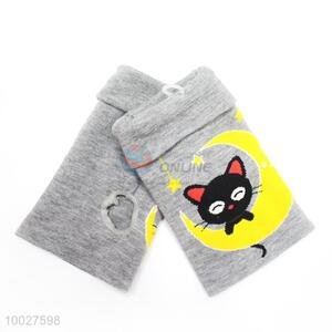 Cute Cats Pattern Soft Half Finger Gloves