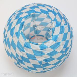 Round white-blue grid pattern paper lantern