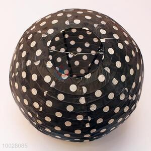 Cute black round paper lantern with dot pattern