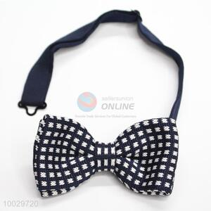 Men decorative dark blue-white bow tie