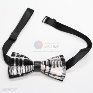 Children white-black plaid pattern bow tie
