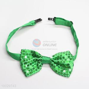 Green bling sequins shiny bowknot bow tie