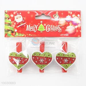 Christmas heart shaped decoration wooden clip