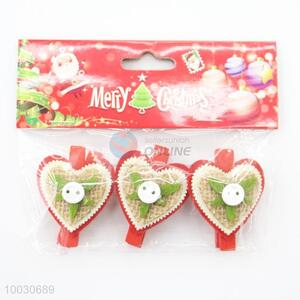Heart shaped love wedding decoration wooden clips
