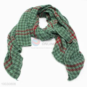 Wholesale Green Houndstooth Grid Wool Spinning Scarf