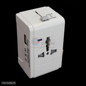 New white travel global USB power adapter plug converter