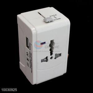 New white travel global USB power adapter plug converter