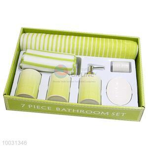 Best quality green striped ceramic bathroom sets