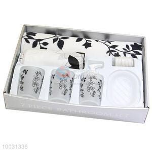 Wholesale black flower pattern plastic bathroom set