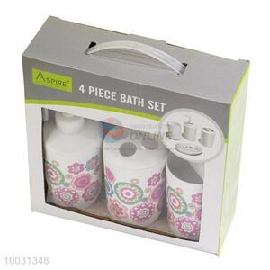 Fashion flower pattern bathroom sets 4pcs