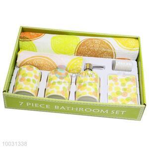 Sweety fruit pattern ceramic bathroom accessory set