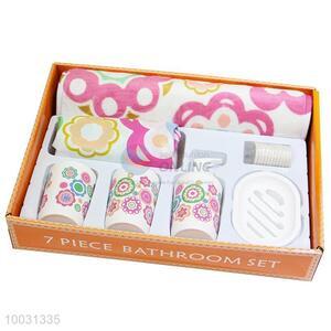 7pcs factory direct sales plastic bathroom set