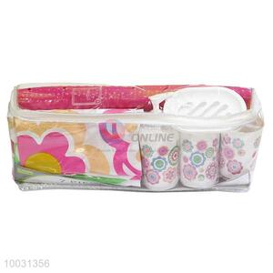 7pcs pink flower pattern bathroom accessories bath sets