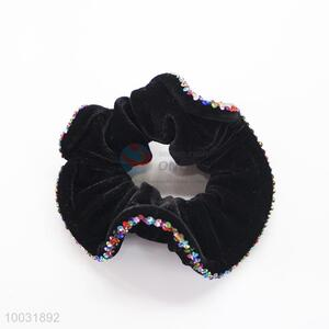 Black velvet elastic hair band with colorful diamonds