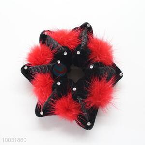 Winter black-red 6-petal elastic hair bands