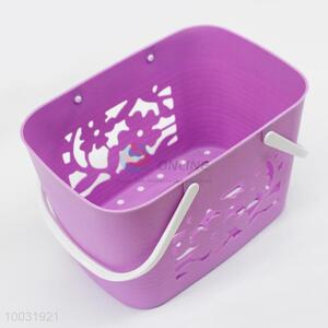 Purple Plastic Basket With Handles