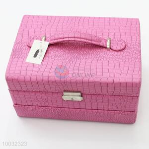 Pink crocodile skin multilayer large jewelry storage cases
