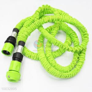 Green latex garden wash car water hose with spray nozzle gun 7.5m
