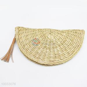 Semicircle Women Woven Clutch Bag With Zipper