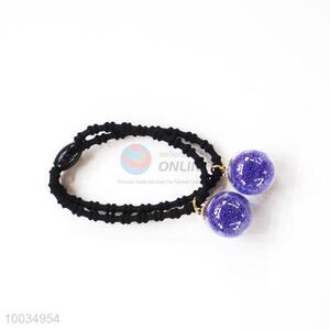 Purple Beads Hair Accessories Elastic Hair Band Hair Ring
