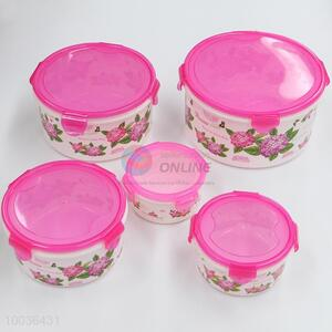 5 pieces flower pattern crisper with pink lid
