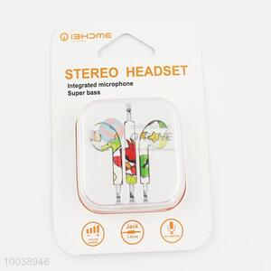 Cartoon patern super bass integrated microphone painting stereo headset