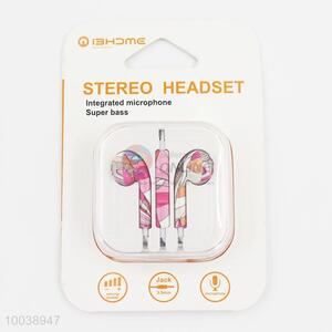 Cute super bass integrated microphone painting stereo headset