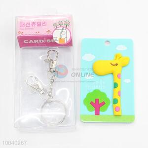Cute 3d giraffe id card holder with keychain