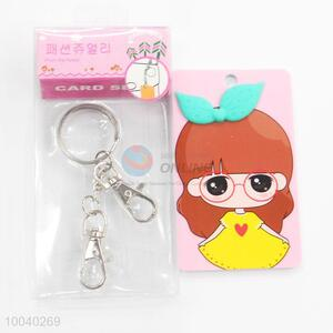 Korean style 3d girls pattern id card holder with keychain