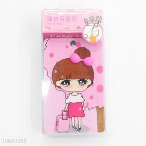 Creative 3d girls pattern id card holder with keychain