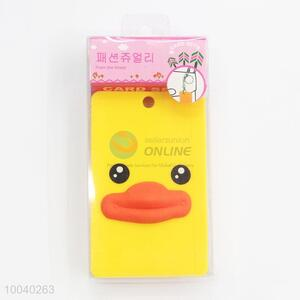 Cartoon yellow duck id card holder with keychain