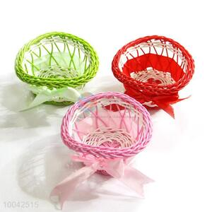 1pc green/pink/red small heart shaped flower decoration basket with ribbon bow