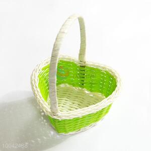 Small size green heart shaped flower basket/gift basket with handle