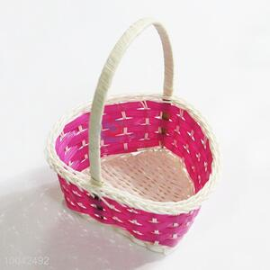 Small size heart shaped flower gift basket with handle
