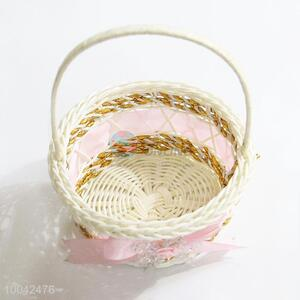11*10*5cm pink braided storage baskets with bowknot